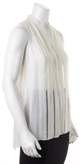 ALICE + OLIVIA White Silk Sheer Lace Trim Pintuck Pleated Sleeveless Blouse