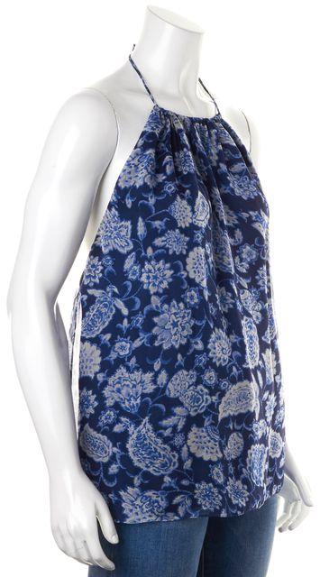 ALICE + OLIVIA Blue Floral Silk Halter Top