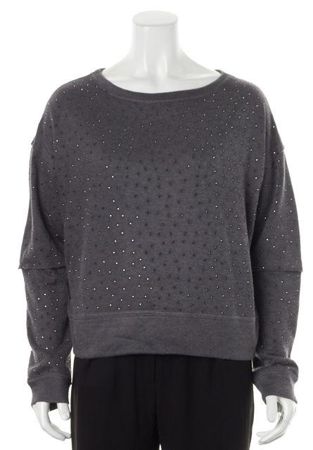 ALICE + OLIVIA Dark Gray Rhinestone Embellished Boat Neck Sweater
