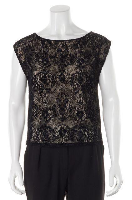 ALICE + OLIVIA Beige Black Lace Blouse Top