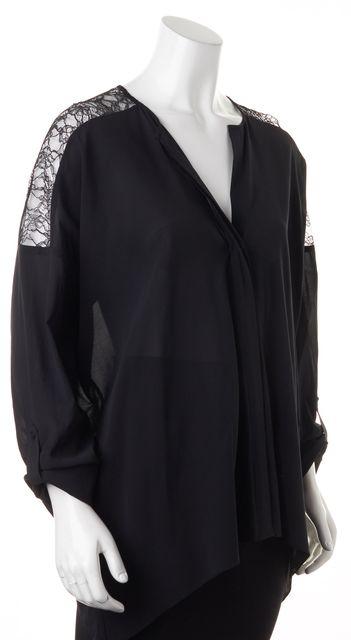 ALICE + OLIVIA Black Lace Trim Silk Oversized V-Neck Blouse Top