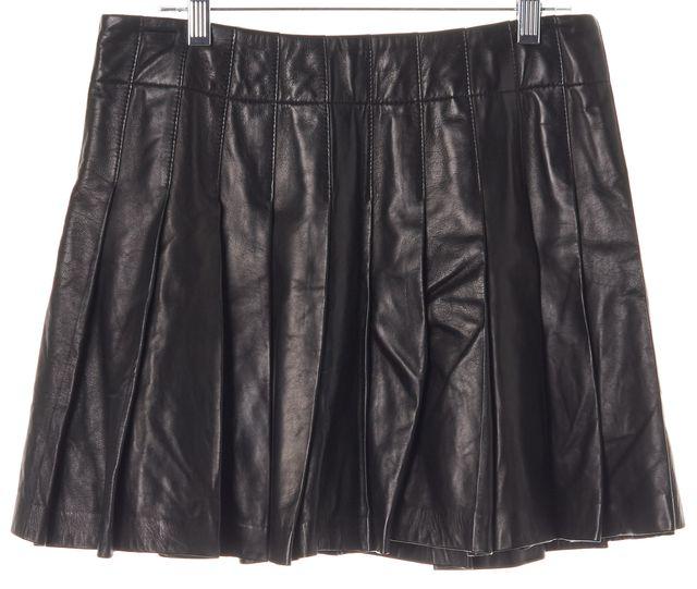 ALICE + OLIVIA Black Leather Pleated Above Knee A-Line Skirt
