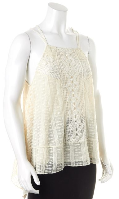 ALICE + OLIVIA Creme Embroidered Lace Criss Cross Back Blouse