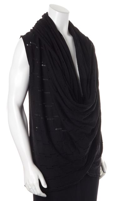 ALICE + OLIVIA Solid Black Sleeveless Distressed Wool Knit Top