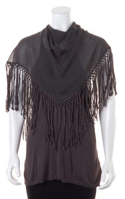 ALICE + OLIVIA Gray Fringe Shawl Overlay Sleeveless Knit Top