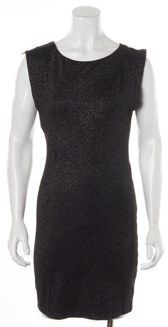ALICE + OLIVIA Black Metallic Silver Zip Trim Sleeveless Sheath Dress
