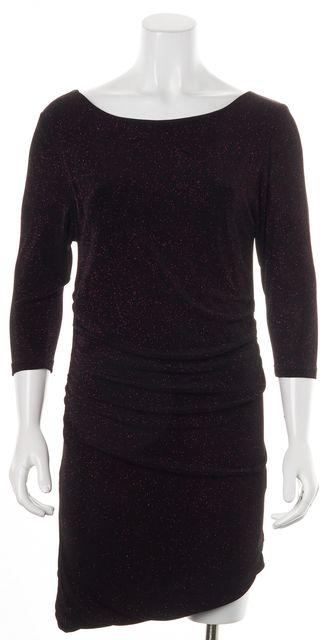 ALICE + OLIVIA Sparkly Purple Black Cutout Back Draped Sheath Dress