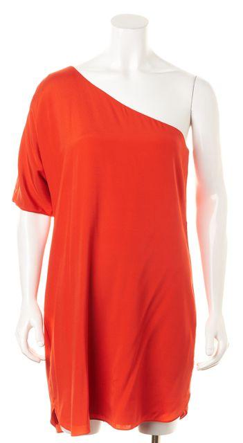ALICE + OLIVIA Blood Orange Silk One Shoulder Dress