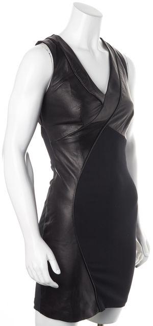 ALICE + OLIVIA Black Leather Trim Sleeveless Sheath Dress