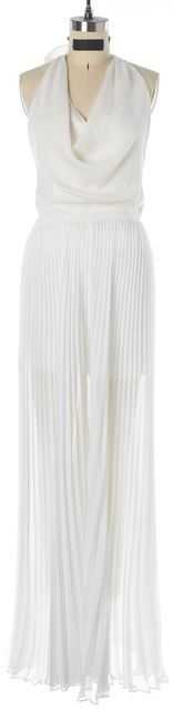 ALICE + OLIVIA White Backless Cowl Halter Pleated Sheer Wide Leg Jumpsuit
