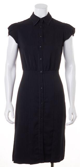 ALICE + OLIVIA Black Cap Sleeve Pencil Shirt Dress