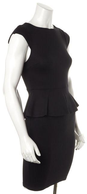 ALICE + OLIVIA Black Cap Sleeve Rayon Above Knee Peplum Dress