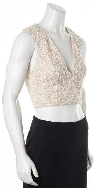 ALICE + OLIVIA Ivory Floral Embroidered Sleeveless Cropped Blouse Top