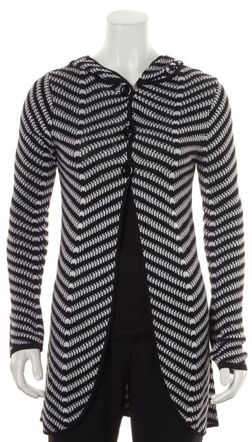 ALICE + OLIVIA Black White Abstract Knit Hooded Cardigan Sweater
