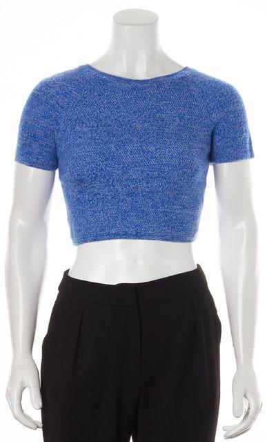 ALICE + OLIVIA Blue Short Sleeve Wool Knit Crop Top