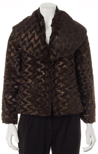 ALICE + OLIVIA Brown Bronze Shimmer Faux Fur Hook Closure Jacket