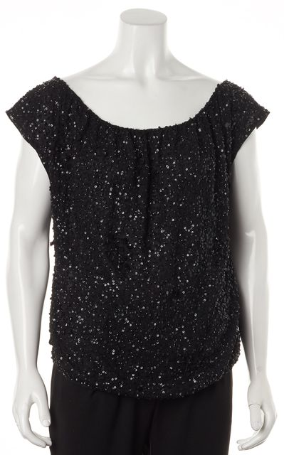 ALICE + OLIVIA Black Sequin Bead Embellished Silk Blouse Top