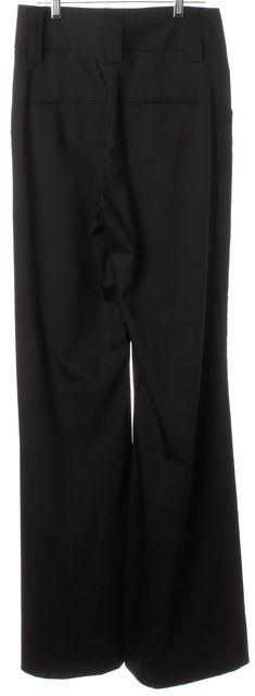 ALICE + OLIVIA Black Wool Wide Leg Pleated Trouser Dress Pants