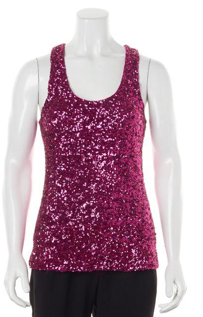 ALICE + OLIVIA Pink Sequin Embellished Scoop Neck Tank Top