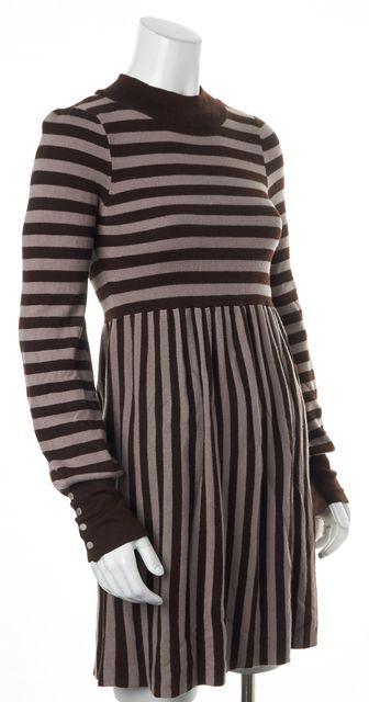ALICE + OLIVIA Brown Beige Striped Mock Neck Sweater Dress