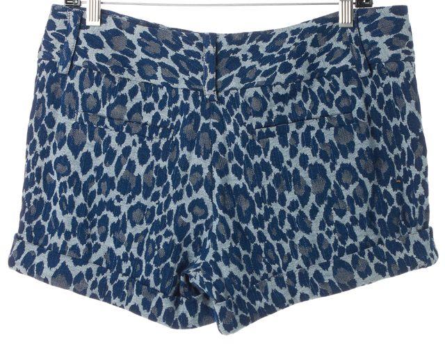 ALICE + OLIVIA Blue Leopard Print Cotton Dress Shorts
