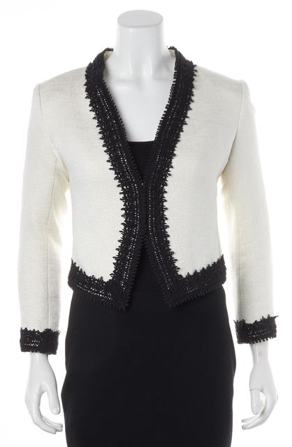 ALICE + OLIVIA Ivory Black Tweed Open Jacket