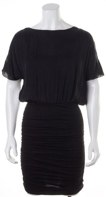 ALICE + OLIVIA Solid Black Ruched Blouson Dress