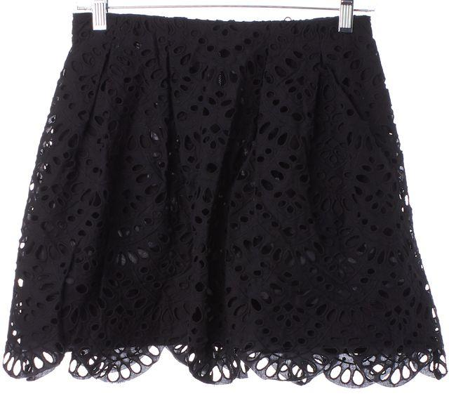ALICE + OLIVIA Black Floral Crochet Cotton A-Line Full Skirt