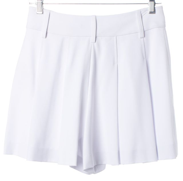 ALICE + OLIVIA White Pleated Casual High Waisted Shorts