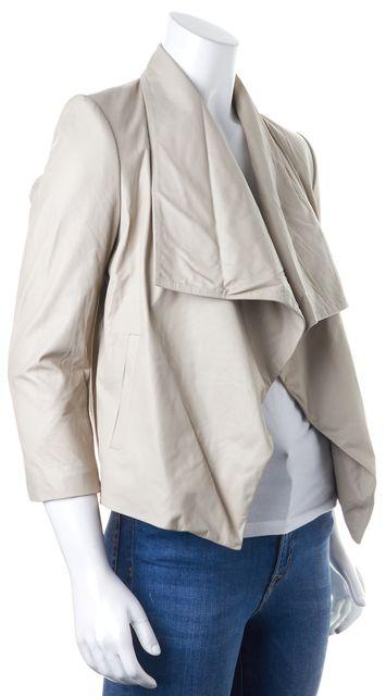 ALICE + OLIVIA Beige Leather Basic Jacket