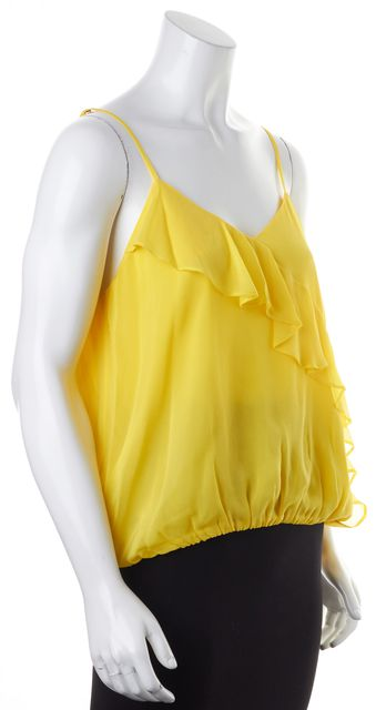 ALICE + OLIVIA Yellow Silk Spaghetti Strap Ruffled Blouse Top