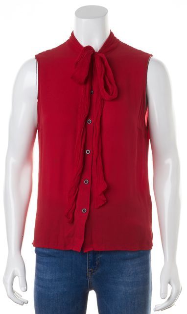 ALICE + OLIVIA Red Bow Neck Sleeveless Button Up Blouse