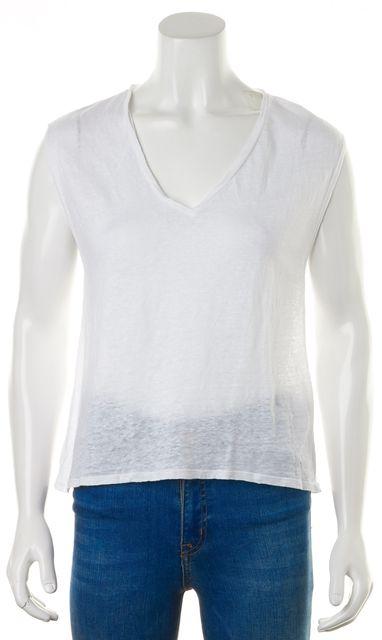 ALICE + OLIVIA White Linen Cap Sleeve Basic V-Neck Cap Sleeve T-Shirt