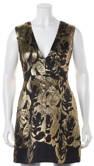ALICE + OLIVIA Black Metallic Gold Tapestry Floral V-Neck Dress