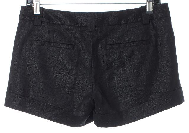 ALICE + OLIVIA Black Metallic Glitter Wool Mini Shorts