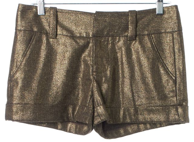 ALICE + OLIVIA Gold Metallic Cuffed Dress Shorts