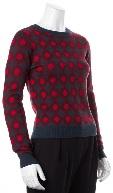 ALICE + OLIVIA Red Navy Blue Geometric Knit Wool Crewneck Sweater