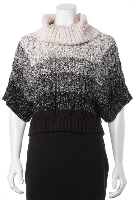 ALICE + OLIVIA Ivory Black Ombre Chunky Knit Cropped Turtleneck Sweater
