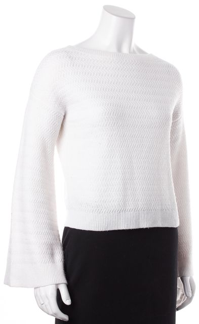 ALICE + OLIVIA White Wool Knit Long Bell Sleeves Crewneck Sweater