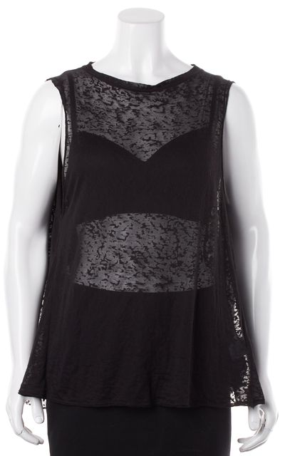 ALICE + OLIVIA Black Semi Sheer Cotton Jersey Burn-Out Sleeveless Tee Top