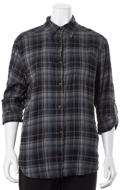 ALICE + OLIVIA Navy Blue Plaid Leather Roll Tab Sleeves Button Down Shirt