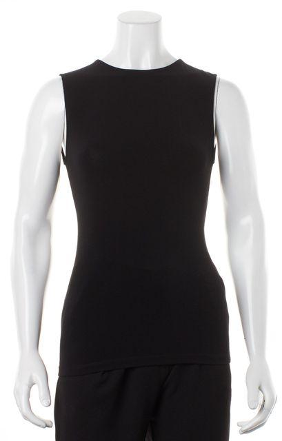 ALICE + OLIVIA Black White Open Back Bow Trim Sleeveless Blouse Top