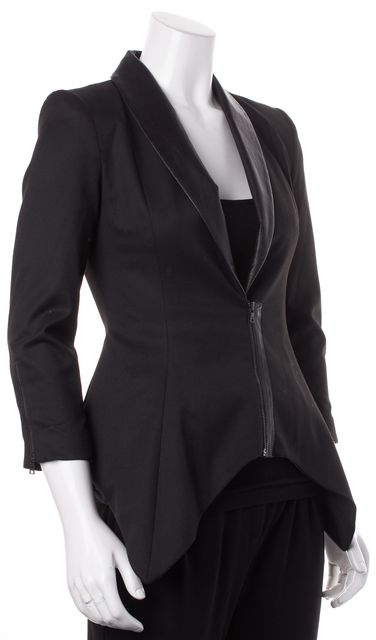 ALICE + OLIVIA Black Leather Trim Pleated Back Zip Up Blazer