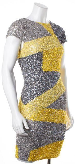 ALICE + OLIVIA Gray Yellow Sequin Embroidered Cap Sleeve Sheath Dress