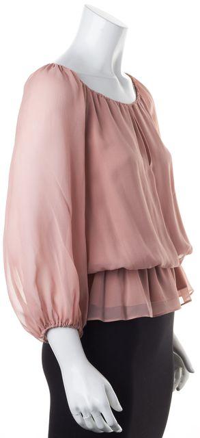 ALICE + OLIVIA Pink Rose Silk Sheer Long Sleeve Elastic Waist Blouse