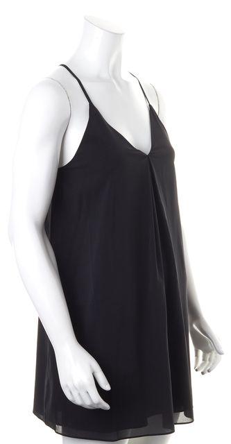 ALICE + OLIVIA Solid Black Crepe Silk Spaghetti Strap Shift Dress