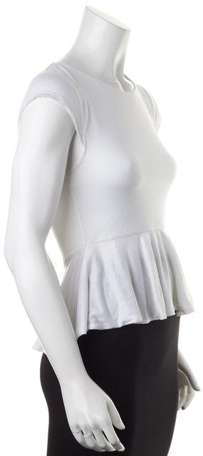ALICE + OLIVIA White Cap Sleeve Peplum Crewneck T-Shirt
