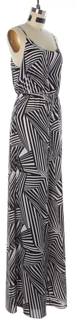 ALICE + OLIVIA Black White Carnival Geometric High Waisted Jumpsuit