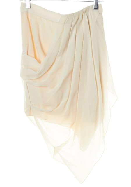 ALICE + OLIVIA Ivory Draped Silk Asymmetrical Skirt