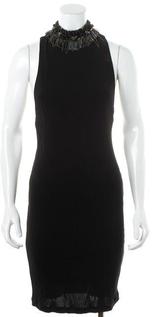 ALICE + OLIVIA Black Silver Bead Embellished Halter Pencil Cocktail Dress